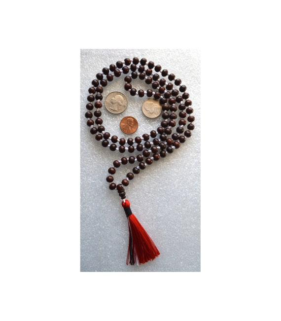 108 Rosewood Mala Beads Necklace, Genuine Rosewood Mala Rosary, Wooden Red and White Mala, Energized Rosewood Beads, Buddhist Rosewood Mala