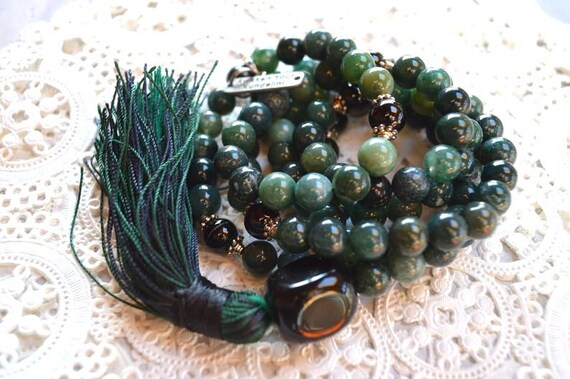 Cyber Monday Sale 108 Genuine Black Tourmaline and Green Moss Agate Mala Beads Necklace,