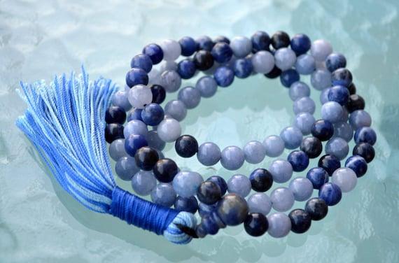 108 Throat Chakra Balancing Mala Beads Necklace Meditation Knotted Prayer bead Bracelet Yoga Gift 8mm Aquamarine Lapis Lazuli Mala Sodalite