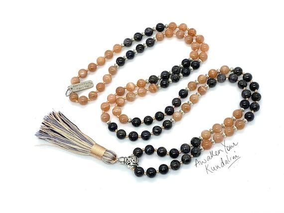 AAA Grade Sunstone and Iolite 108 Mala Beads Necklace Energized Sunstone 8mm Natural Gemstone Bracelet Wrap Mala Healing Gemstone Jewelry