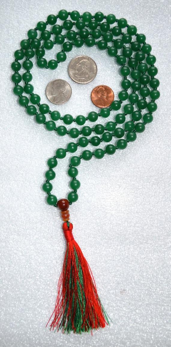 Green Aventurine Hand Knotted Earthly Mala Beads Necklace - Blessed Karma Nirvana Meditation 8mm 108 Prayer Beads For Awakening Kundalini