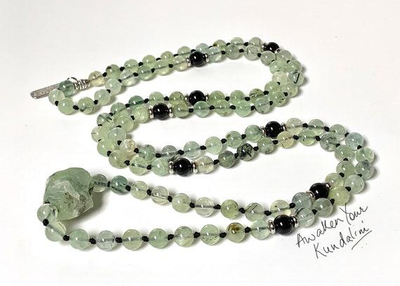 Chakra Jewelry / Prehnite / Prehnite Mala Necklace / Prehnite Pendant / Prehnite Jewelry / Reiki Jewerly / Boho Necklace green heart chakra