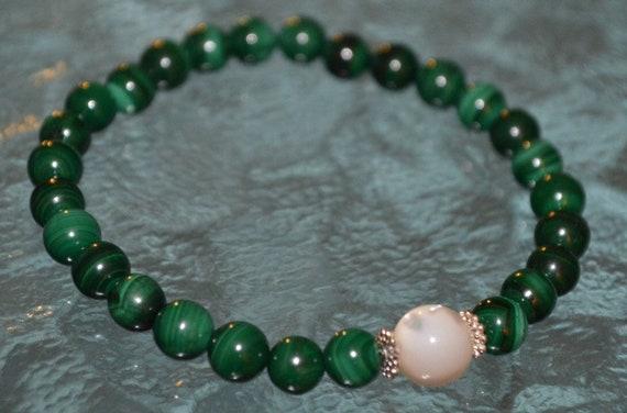 Heart Chakra Malachite Bracelet chakra stones healing crystals bridesmaid gift pearl bracelet unique mothers day wedding gift yoga gift her