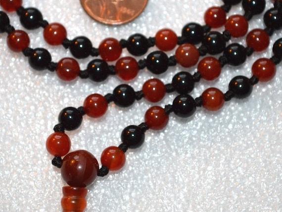 AAA Carnelian Black Tourmaline 108 Mala Beads Necklace deflecting radiation protection 6mm 8mm 10mm knotted tourmaline jewelry root chakra