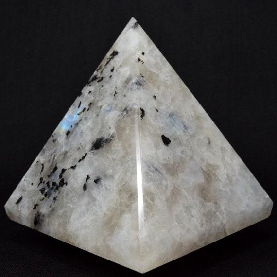 "Energized Rainbow Moonstone Pyramid Healing Crystal Pyramid Chakra Energy Altar Stone Approx. 1.5""-2""- Reiki Chakra Healing Gemstone Pyramid"