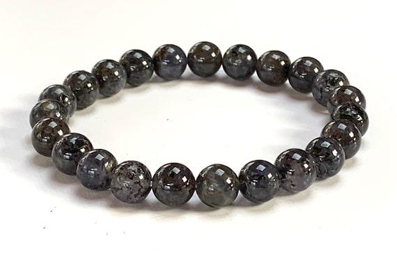 AAA Grade Genuine Iolite Mala Beads Bracelet, Water Sapphire Mala,  Iolite Stretch Bracelet, Purple Violent Water Sapphire Chatoyant Gemston