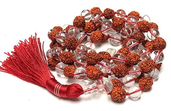 108 Rudraksha Japa Mala Prayer Beads Knotted Necklace Rosary Shiva Mala Saphtik Nirvana Quartz Rudraksha, Meditation Buddhist Prayer Mala