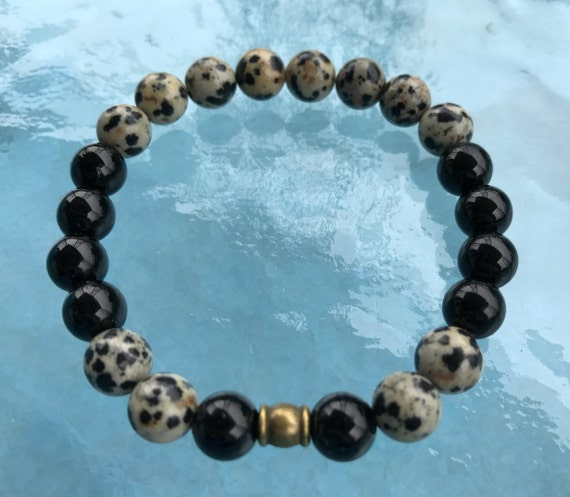 Genuine Black Tourmaline & Dalmatian Mala bracelet - deflecting radiation energy,repel and protect from negative energy and changes