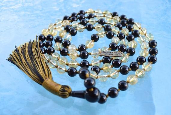 Black Tourmaline Citrine Quartz Mala Neckalce 108 Mala Beads Knotted Mala Necklace Mala Prayer Beads Meditation Yoga Jewelry Abundance Mala