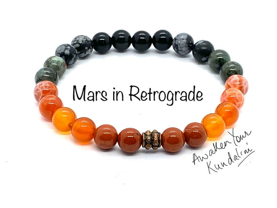Crystals for Mars in Retrograde Mars Beads Bracelet Planetary retrograde natal terraforming Veronica mars planet bracelet healing crystals