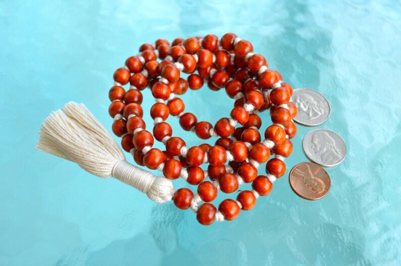 Blessed 108 Wooden Dyed Hand Knotted Mala Beads Necklace Nirvana Karma 8 mm Prayer Beads For Awakening Chakra Kundalini Meditation