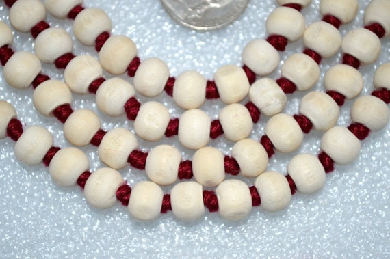 Jaap Mala Necklace 8-10mm Tusli Holy Basil Prayer Beads Hand Knotted - Karma Nirvana Meditation Awakening Chakra Kundalini Rosary 108+1 Bead
