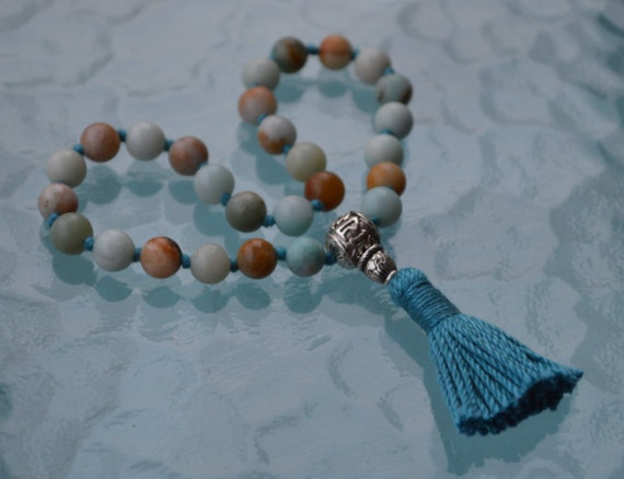 Genuine Amazonite Pocket Knotted Prayer Beads, Healing Jewelry, Quarter Japa Mala Necklace, for Stress Relief, Healing Spirituality, Detox