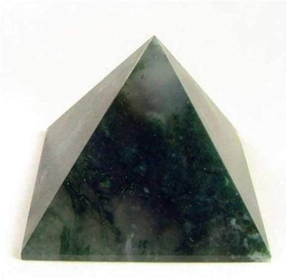 "Energized Blessed Reiki Healing,Pyramid Green Moss Agate, Heart Chakra Pyramid, Jade pyramid, Green Agate Pyramid, Oregone Pyramid 1.75""-2"""