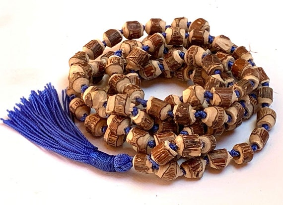 Natural Raw Tulsi HOLY BASIL BEADS Knotted Mala beads Necklace  || Tulsi Mala Bracelet Knotted Tulasi Mala in Blue string || Wood mala beads