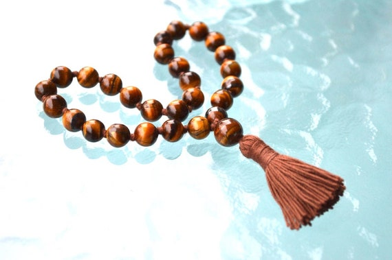Brown Tiger Eye Hand Knotted Quarter/Pocket Mala Beads Necklace - Blessed & Energized Stones for Good Luck, Strength, Will, Protection