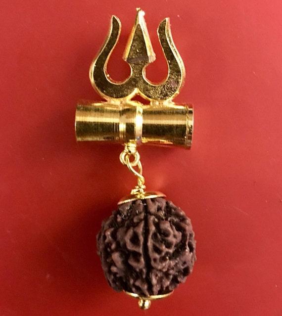 5 Five Mukhi Rudraksha, Tri Shakti Damru kavach pendant 5 Face Rudraksh bead - From Nepal - Stress free life - Om Meditation Yoga jewelry