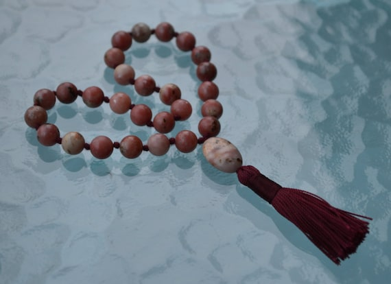 27+1 Natural Jasper Pocket Knotted Mala Necklace - Overcoming loss of loved ones Positive Dreams Boosts Confidence Creativity Insomnia