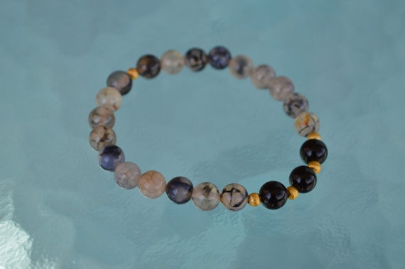 8 mm Black Tourmaline Dragon Vein Agate Mala bracelet - deflecting radiation, increases stamina, aids in accepting ones fate manifestation