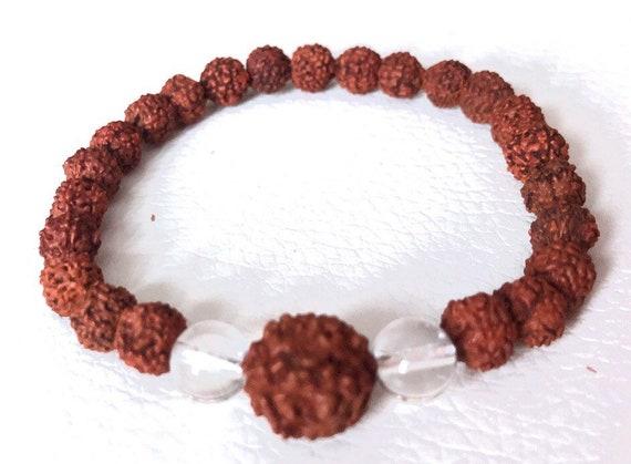 Energized Natural 8 mm Rudraksha Quartz Mala beads bracelet, 7 mukhi Rudraksh Stretch Wrist bracelet, Mala Beads, Healing Bracelet