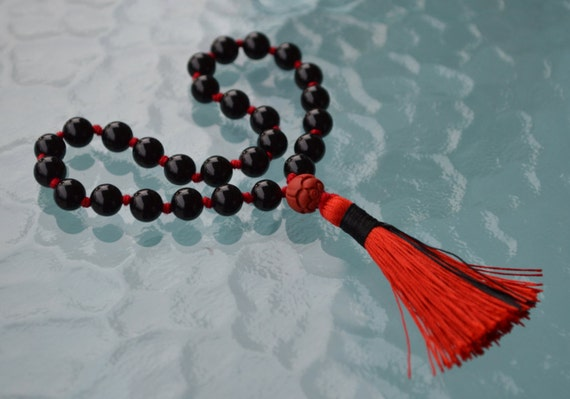 27+1 Root Chakra Cinnabar Onyx Knotted quarter mala -Business Protection Calming Sexual Tensions Marital Disputes Devotion Strong Saturn
