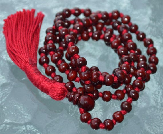 Sandalwood Mala 6 mm 108 Sandalwood knotted rosary, Kids Prayer Beads Mala Necklace Wood Bead Mala, Hindu meditation Mala Buddhist Tibetan
