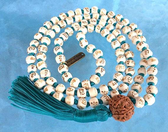 Tulsi mala beads | Holy Basil Japa mala | 5 Mukhi ( Face ) Rudraksha Rudraksh | Energized for chanting mantra awakening chakra w/ mala pouch
