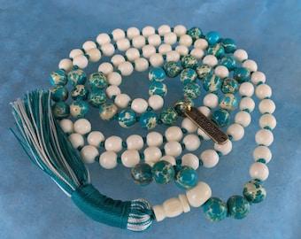 108 Yak Bone Knotted Mala Bead Necklace, Tibetan Buddhist Prayer beads, Yak bone Mala Beads, Yak Bone Meditation Mala, White and Red Mala