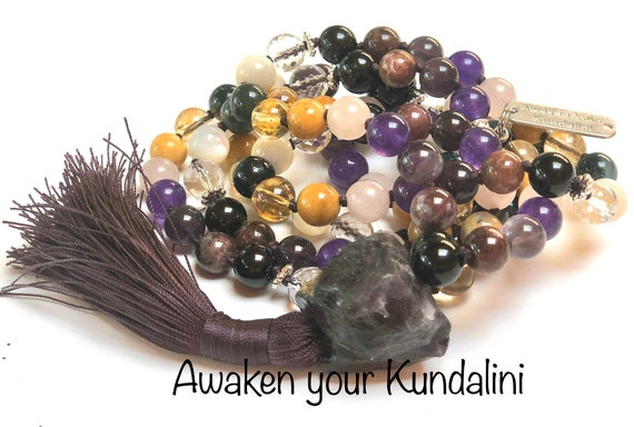 108 Mala Beads Necklace, Psychic Ability Vision, Dimentia Necklace,tourmaline, onyx citrine, pearl, amethyst, bloodstone, moss agate.