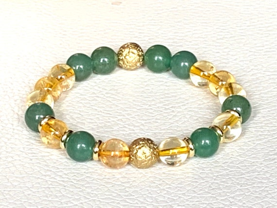 Energized Citrine Beaded Bracelet Aventurine citrine bracelet natural AAA citrine untreated unheated healing bracelet raw citrine stone