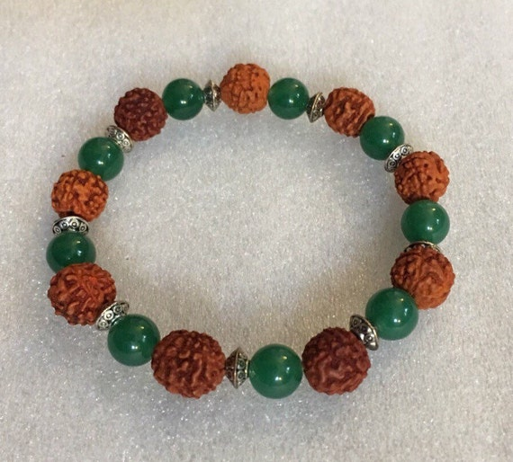 Green Jade beads, Rudraksh beads, Rudraksha, Wrist Mala, Healing Bracelet - Karma, Nirvana, Meditation, Prayer Beads, For Awakening Chakras