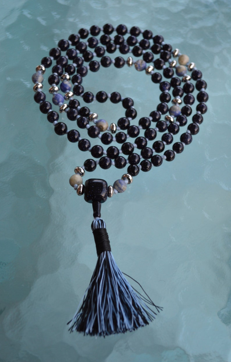Pschycism Inution 108 Blue Sandstone and Sodalite mala beads encourages Independence and Originality Clarity in making decissions