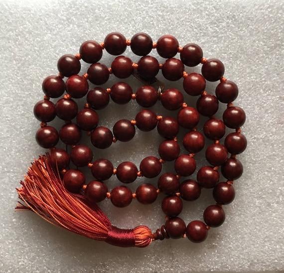 54+1 Rosewood Mala Beads Necklace, Genuine 12 mm Rosewood Mala Rosary, Wooden Red Half Mala, Energized Rosewood Quarter Mala, Buddhist Mala