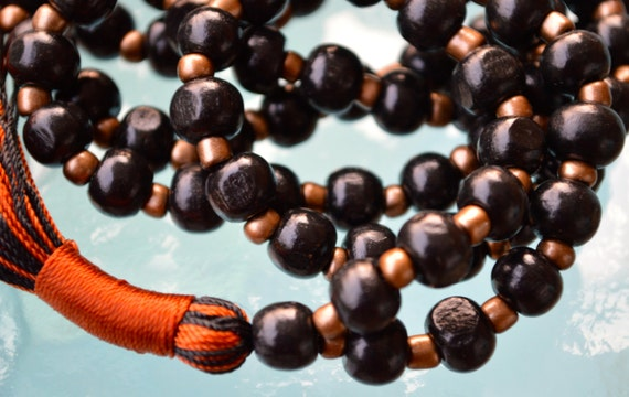 Black Wooden Beads Handmade Mala Necklace - Blessed Karma Nirvana Meditation 8mm Prayer Bead For Awakening Chakra Kundalini