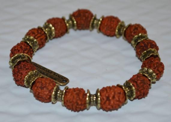 Energized & Blessed Rudraksh, 5 Mukhi Rudraksha Bracelet, Five Face Rudraksh Mala beads bracelet, Stretch Wrist Healing Mala Bracelet,