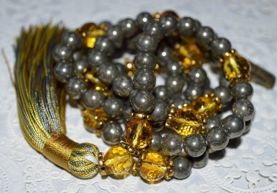 108 Golden Citrine Pyrite Mala Beads Necklace Protection Bracelet Necklace Grounding Bracelet Crystal Jewelry Energy Bracelet Meditation Yog