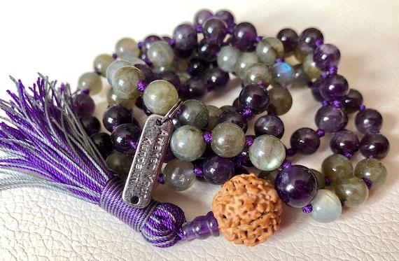 AAA Labradorite Rudraksha Amethyst Mala Beads Necklace Awaken your Kundalini cabochon purple labradorite bracelet Labradorite Jewelry gifts