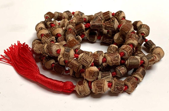 Natural Raw Tulsi Holy Basil Knotted Mala beads Necklace  || Tulsi Mala Bracelet  || Knotted Tulasi Mala in Red String || Wood mala beads