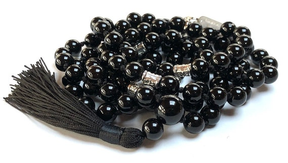 Black Onyx beads, Root Chakra gemstones, Hand Knotted Mala, boho jewelry, Necklace - Emotional Protection, Sexual Tensions, Marital Disputes