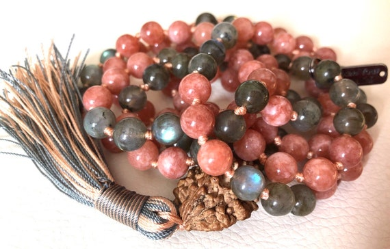 Cyber Monday Sale Energized 8 mm knotted Labradorite Mala Beads Necklace with Sunstone & Rudraksha, Peach and Grey Mala beads
