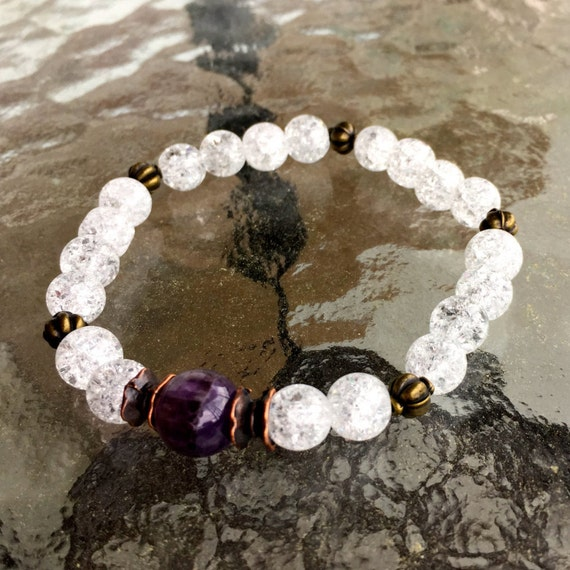 Crackle Quartz & Amethyst bracelet jewelry Third eye Crown chakra Mother in law gift for mom gift for women gift for wife reiki gift for her