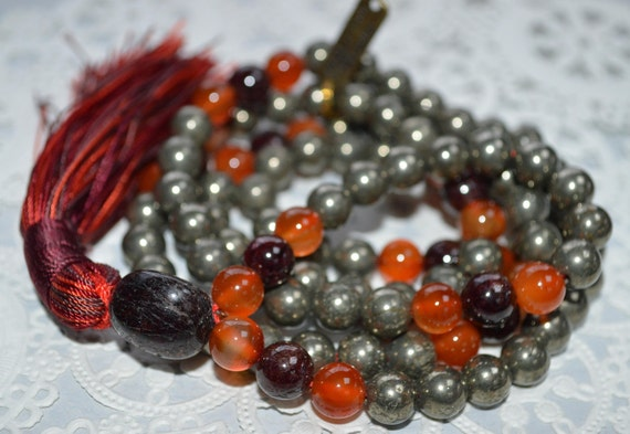108 pyrite garnet carnelian mala beads necklace double protection mala bead for men and women authentic gemstone necklace bead bracelet