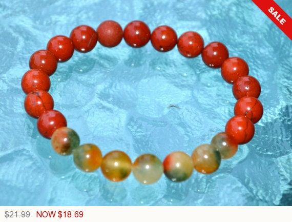 Christmas Sale - Red Jasper & Jade Handmade Mala Beads Nirvana Healing Bracelet - For Bad Dreams Empowerment Heart Chakra and Anxiety