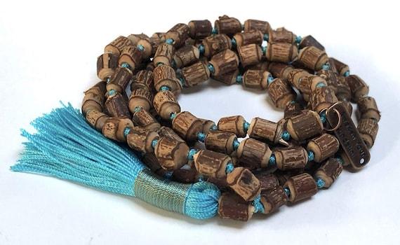 Natural Raw Tulsi Holy Basil Knotted Mala beads Necklace  || Tulsi Mala Bracelet  || Knotted Tulasi Mala in Turquoise String Wood mala beads