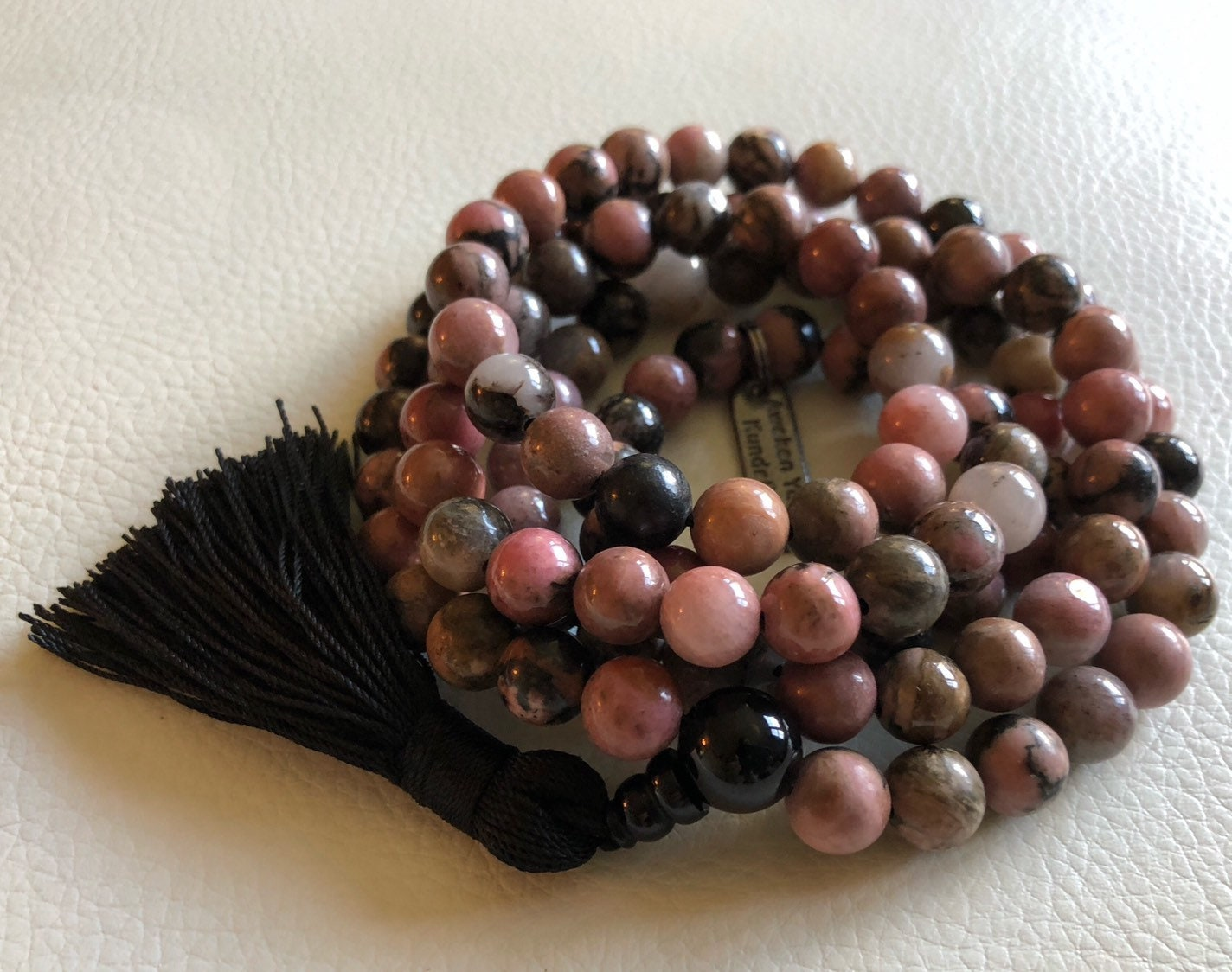 Pink and Black Natural 108 Rhodonite Hand Knotted Mala Beads