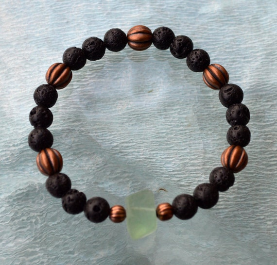 8mm Black Basalt Lava Stone Green Aventurine Wrist Beads Bracelet - Grounding, Fertility, Calming, Energizing, Stability, Increase Libido,