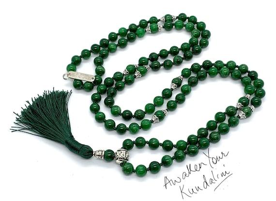 108 Green Jade Nephrite Mala Beads Necklace, Energized & Blessed Natural Genuine Green Jade Prayer Beads, Nephrite healing crystal love mala