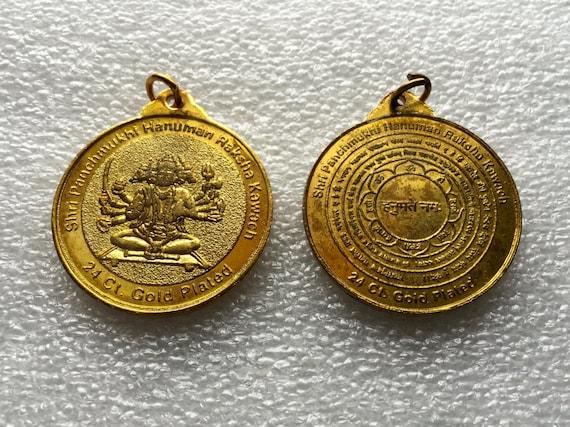Sri Panchmukhi Hanuman Yantra Kavach Pendant Amulet - Blessed & Energized, Beautifully Engraved, Laminated, Yantra