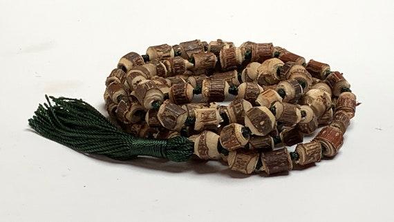 Natural Raw Tulsi Holy Basil Knotted Mala beads Necklace  || Tulsi Mala Bracelet  || Knotted Tulasi Mala in Green string || Wood mala beads