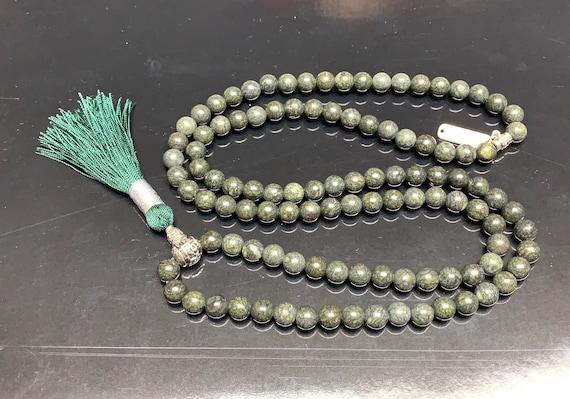 Green 8mm Russian Serpentine Handmade Buddhist Mala Beads Necklace - For opening Heart Chakra, Cellular Regeneration, Kundalini Awakeni
